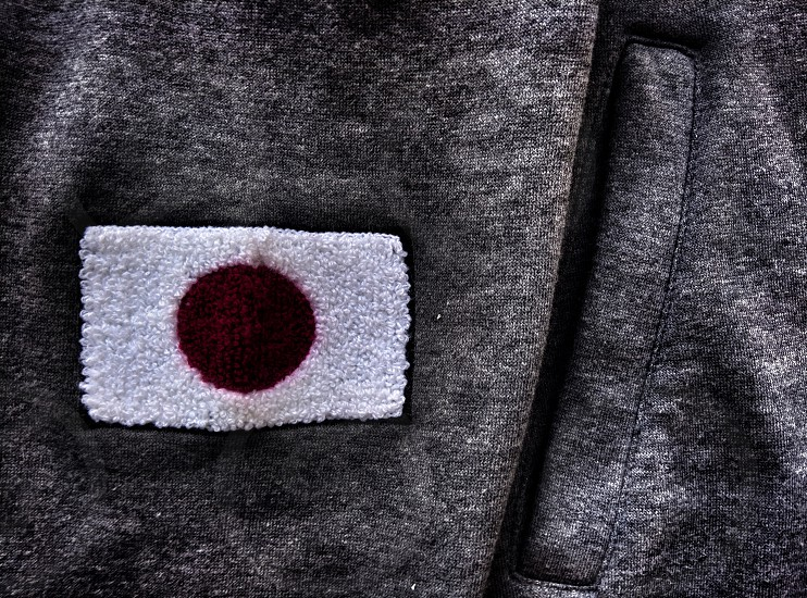 sweater with a flag of Japan drama style photo