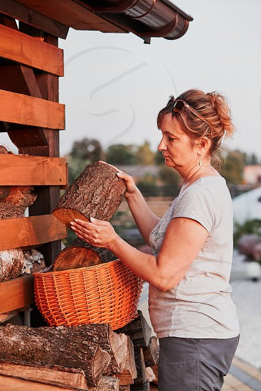 Adult woman putting the wood logs to wicker basket standing by wood shed in the backyard. Real people authentic situations photo