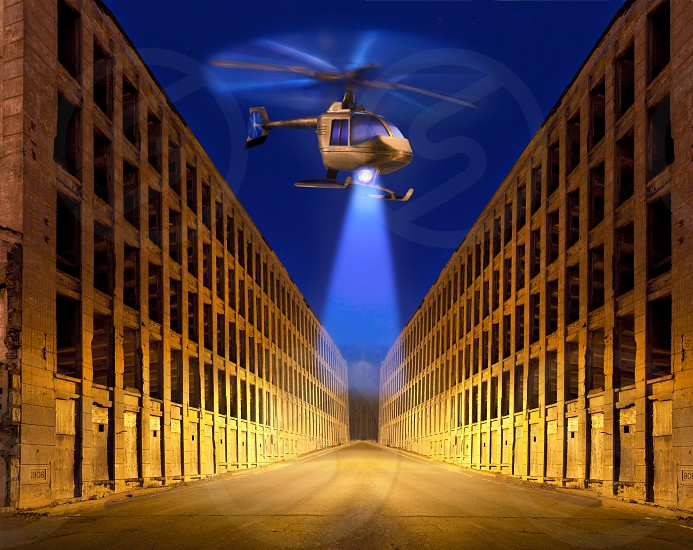 animated helicopter between buildings photo