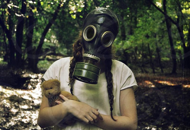 creepy gas mask self portrait photo