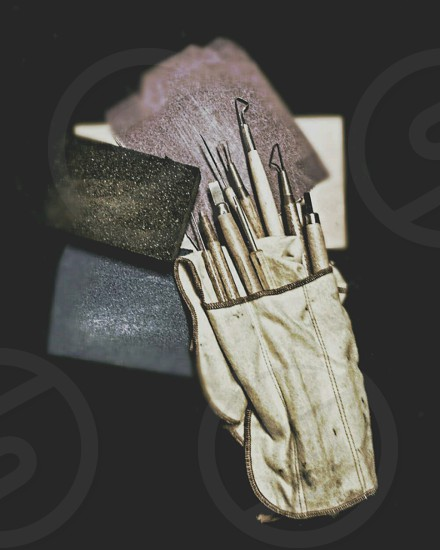 Wood carving tools precision woodworking tools sandpaper tools of the trade photo
