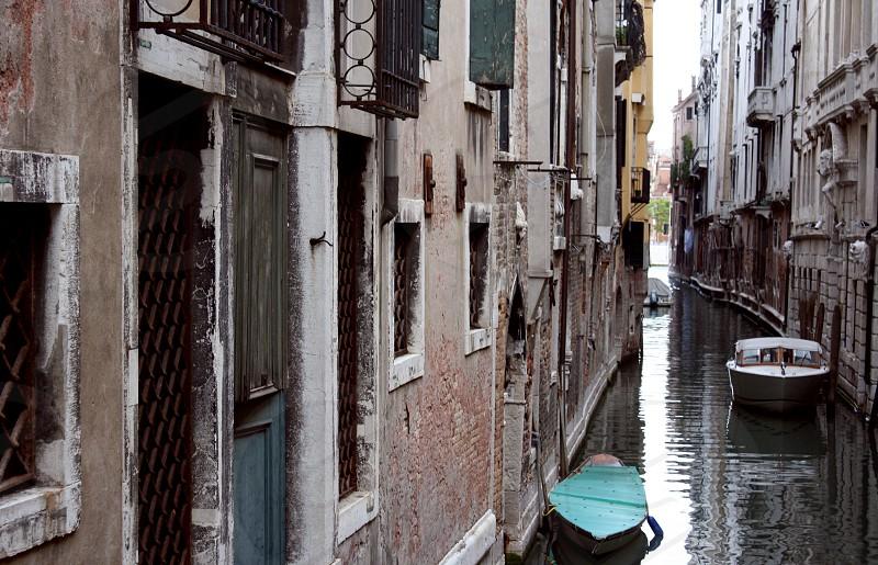Venice Italy Canal Perspective Gondola Bridge Boats photo