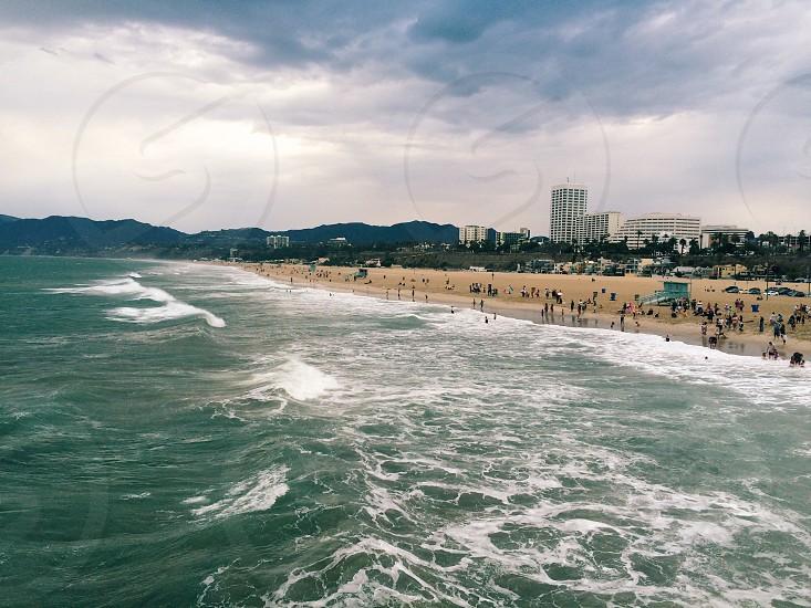 California Santa Monica pier beach people sun sand ocean lifestyle surf summer photo