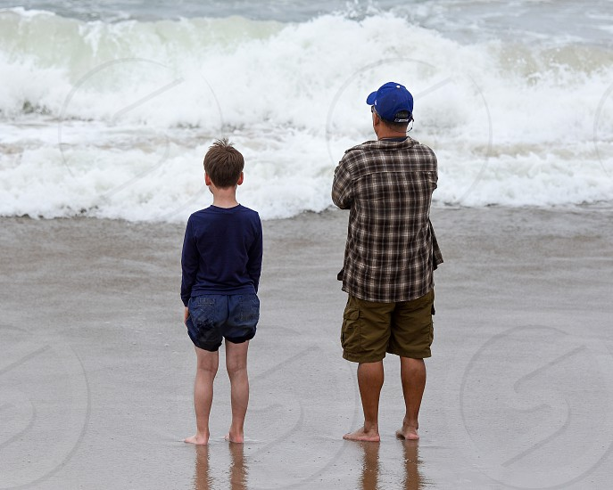 Two Generations pondering the Pacific - Pescadero State Beach CA photo