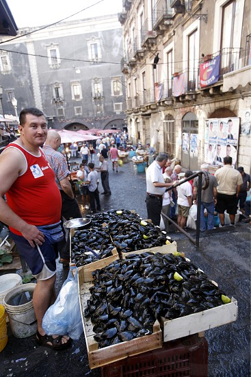 The Fishmarket in the old Town of Catania in Sicily in south Italy in Europe. photo