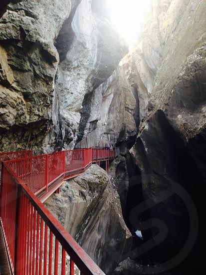 Pathway through Box Canyon in Ouray Colorado.  photo