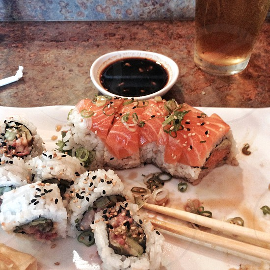 Sushi roll plate photo