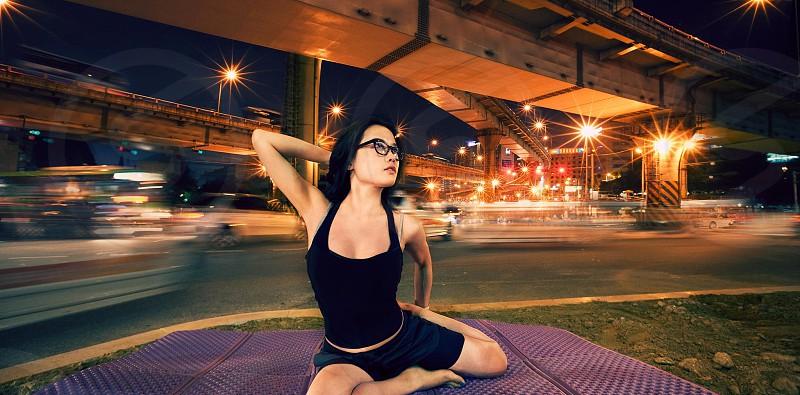 Yoga on the freeway photo