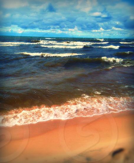 Waves on Lake Michigan beach photo