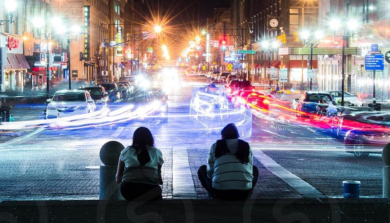 Couple enjoying the evening traffic. photo