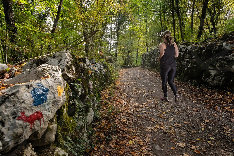 Young female adult trail running on the  forest road in autumn photo