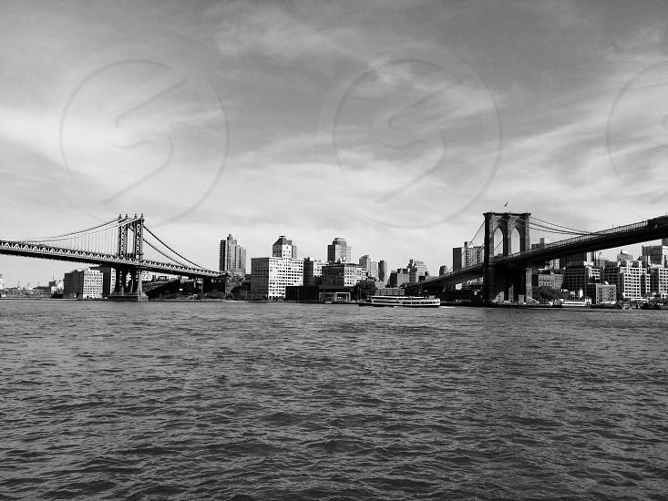white concrete bridge across the sea photo