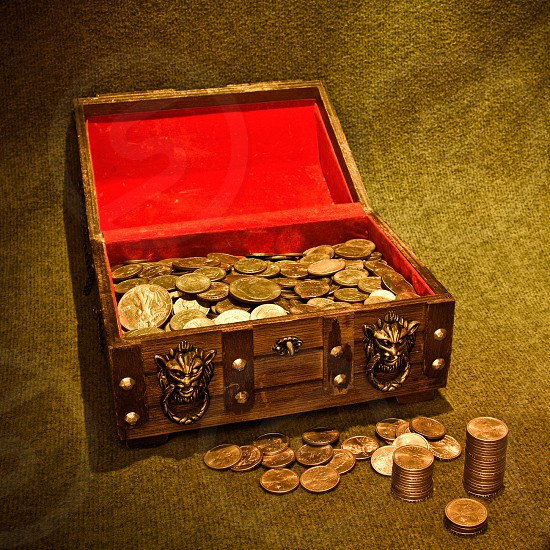 treasure treasure chest chest treasurechest hoard riches bygone era relic ornate heirloom ancient velvet discover discovery market marketing wealth collection collect finance adventure currency economy worn aged coins coin symbol wooden money lighting age cash old silver gold brown pile design shadow wood red yellow photo