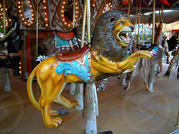 Strange carousel animals lion photo