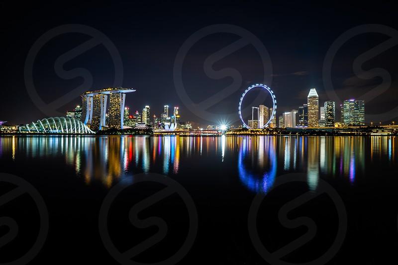 Night at Singapore city skyline  photo