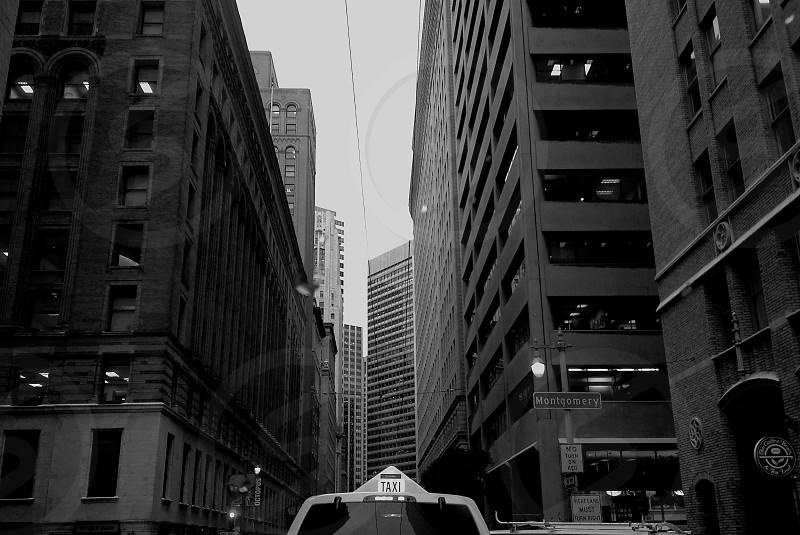 Taxi streetview buildings San Francisco photo