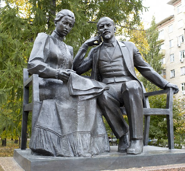 Monument to Vladimir Lenin and his wife Nadejda Krupskaya on October 1 2012 Moscow Russia. photo