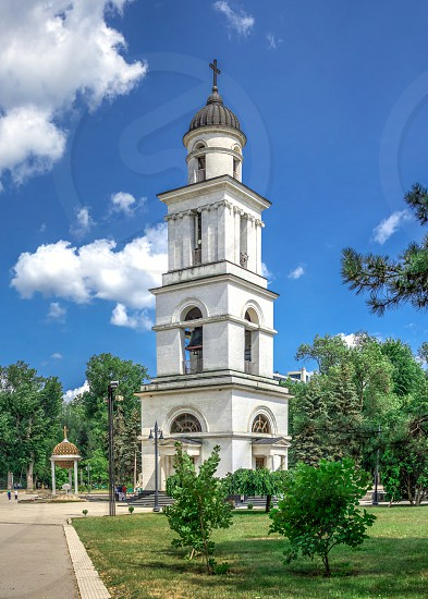 Chisinau Moldova – 06.28.2019. Bell tower in the Chisinau Cathedral Park Moldova on a sunny summer day photo