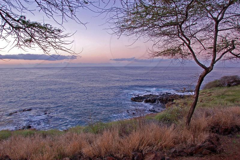 Just before sunrise off the southern coast of Lanai Hawaii.  photo