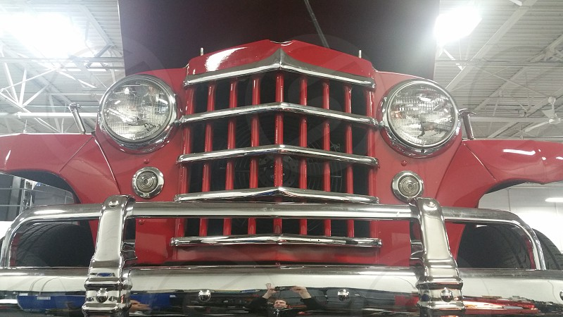 classic car grill red truck willys photo