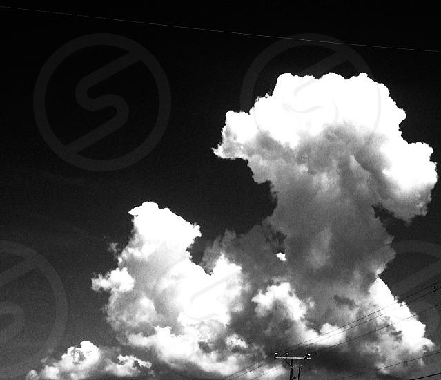 cumulus clouds grayscale photo