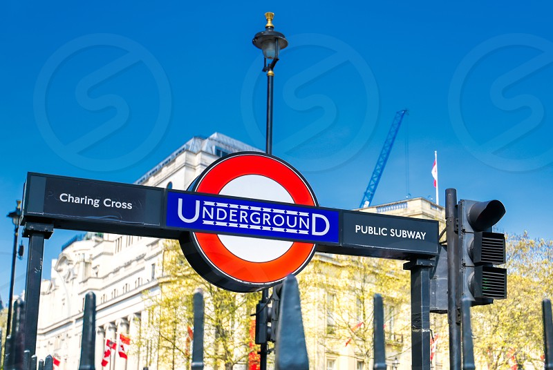 London United Kingdom - April 17 2019 : Signs leading to the entrance on the London Underground public subway station in London England. photo
