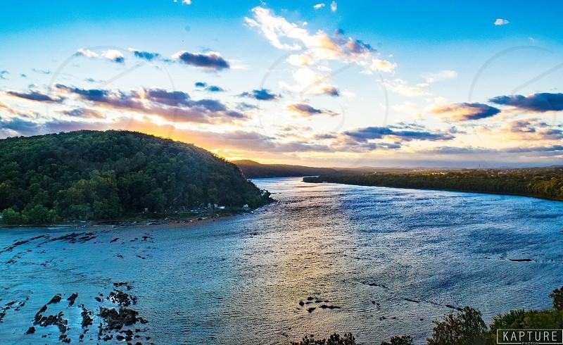 River landscapes landscape sunset sundown clouds nature vista trail Lancaster peak  photo