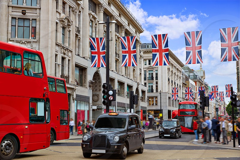 London bus and taxi Oxford Street W1 Westminster in UK England photo