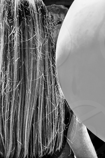 Balloons Long hair Black and white Festival Street fair messy hair Documentary photo