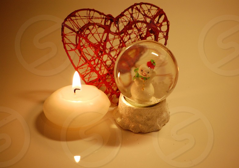 snow globe with candle photo
