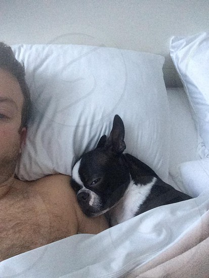 black and white fur puppy sleeping with a man photo