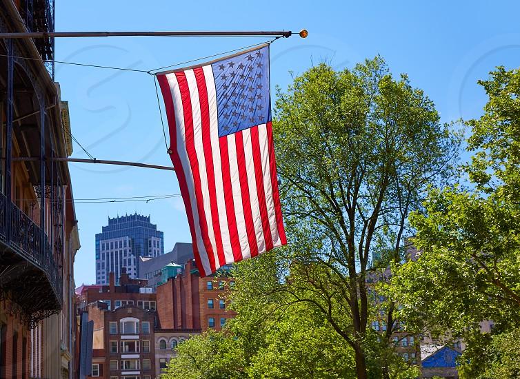 American flag in Boston downtown Massachusetts USA photo