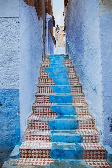 stairs blue travel ways we travel upstairs tiles pattren adventure character nomad drifter  photo