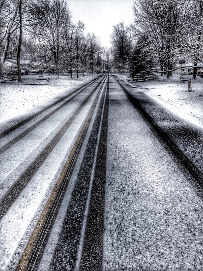 winter road scenery photo