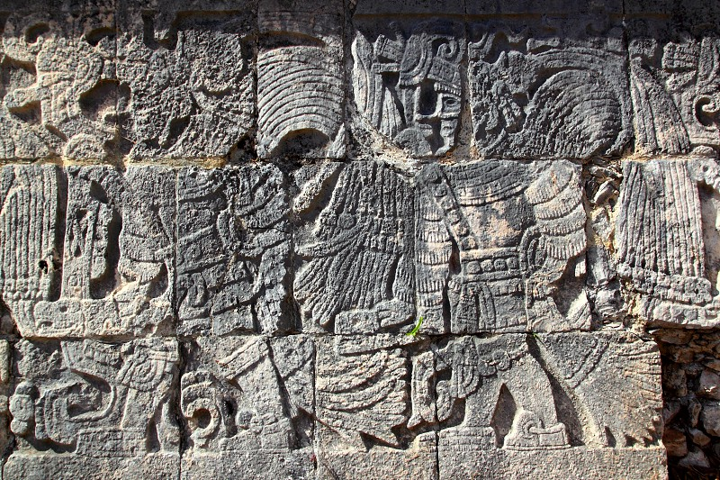Chichen Itza hieroglyphics mayan pok ta pok ball court  Mexico photo