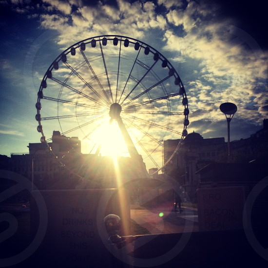 Setting sun wheel  photo