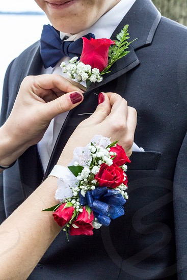 Flowers prom corsage boutonnière formal fancy photo