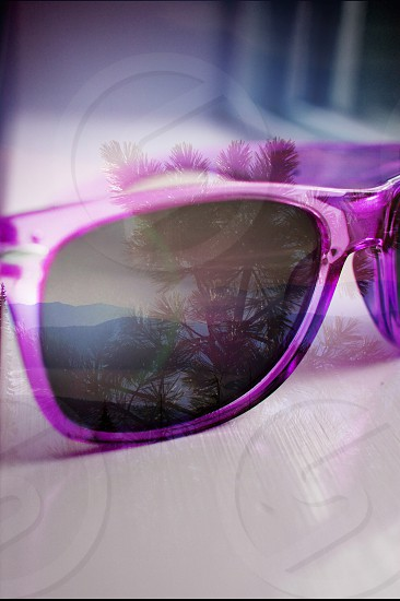 woman's light purple lucite square sunglasses photo