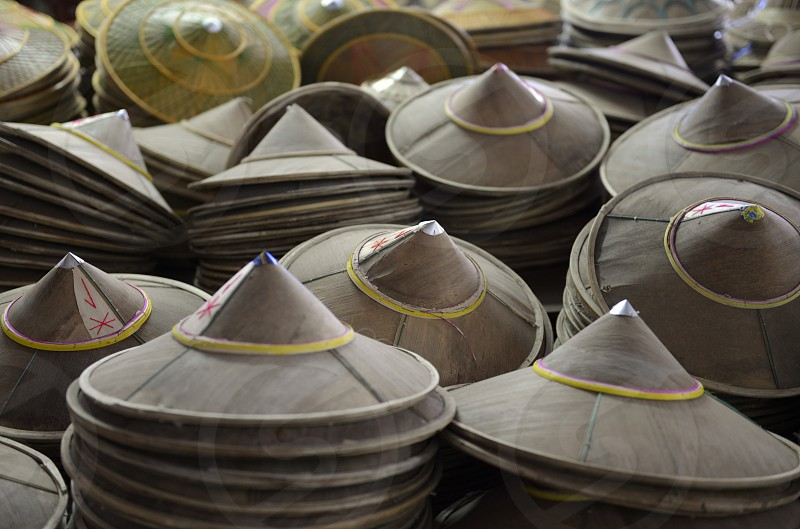 a hat market in the market the city of  Mae Hong Son in the north provinz of Mae Hong Son in the north of Thailand in Southeastasia. photo