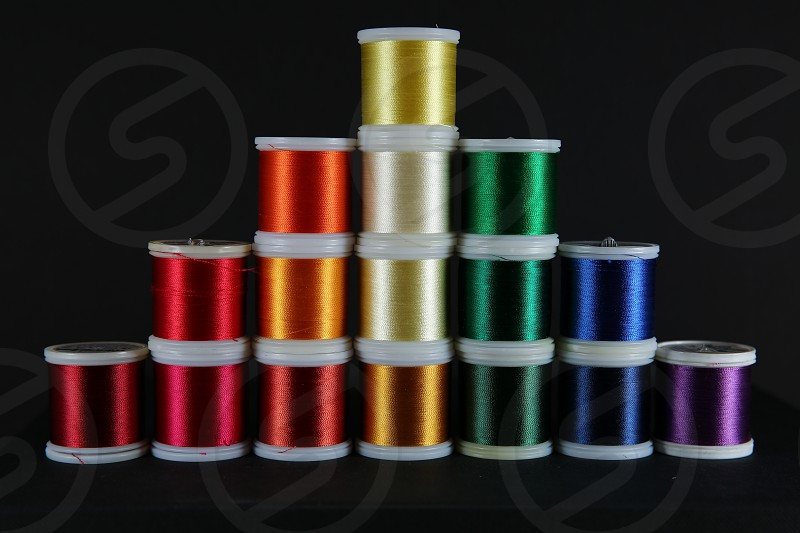 rainbow of embroidery threads photo