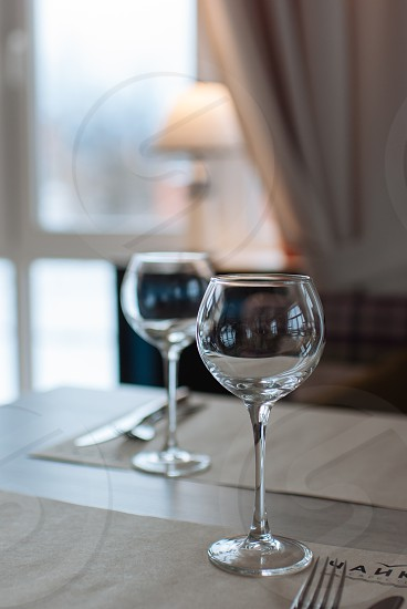 glasses light restaurant catering dinner couple wine glasses photo