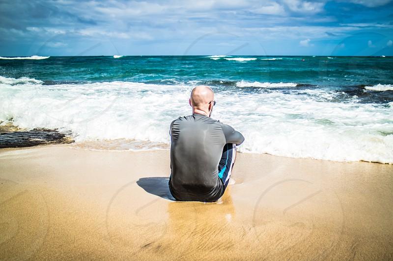 His first time to Diamond Head Beach Hawaii photo
