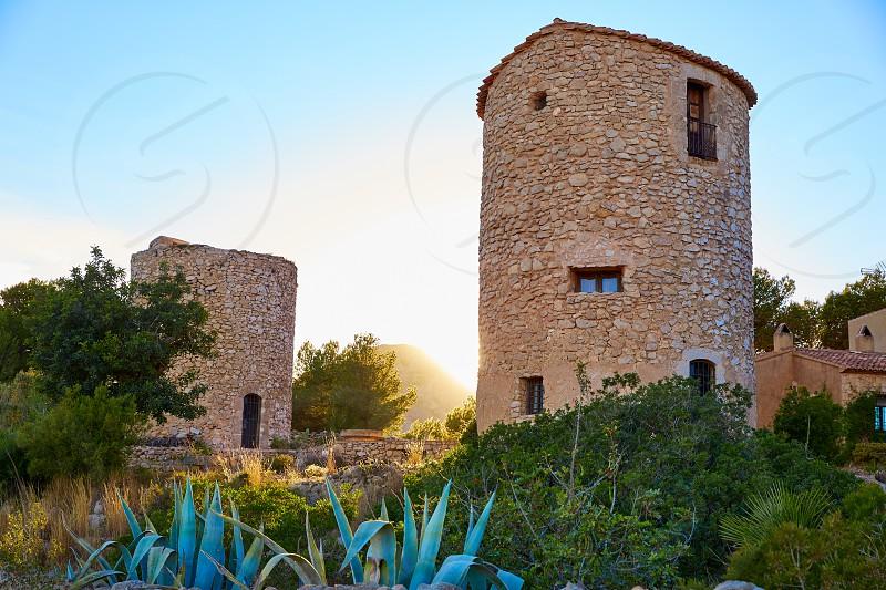 Javea Xabia el molins at sunset in Mediterranean Alicante at Spain photo
