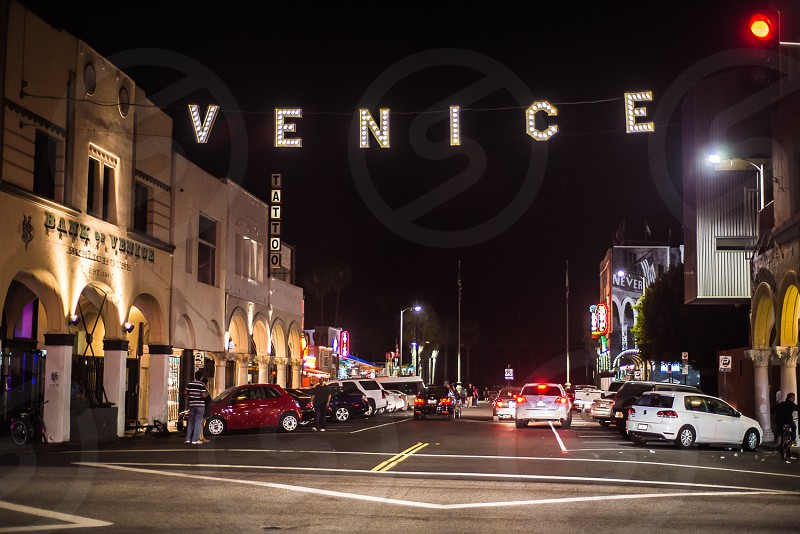 The iconic Venice sign on Windward Avenue in Venice Beach California. photo