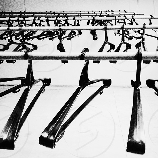 hangers at museum cloack room photo