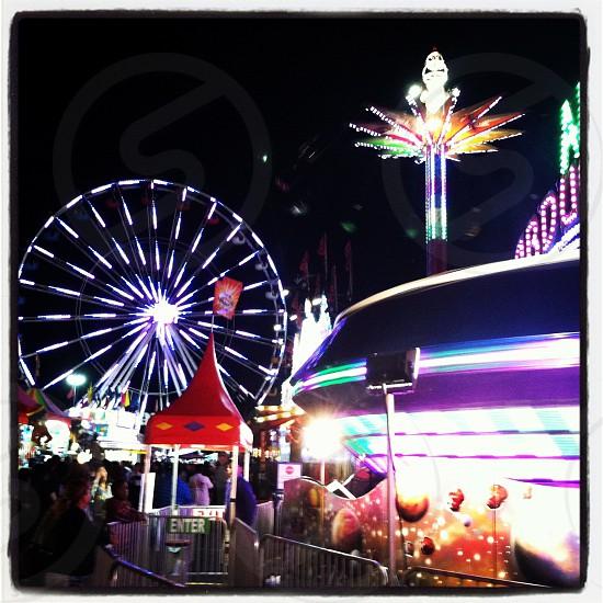 carnival rides at night photography photo