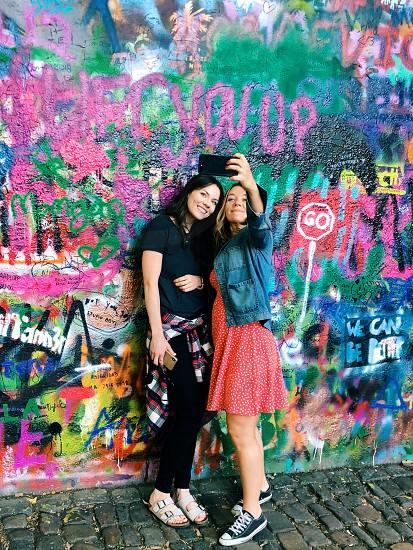 iPhone graffiti selfie girls  photo