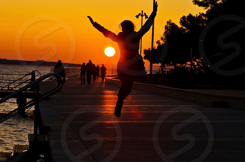 human silhouette in sunset view  photo