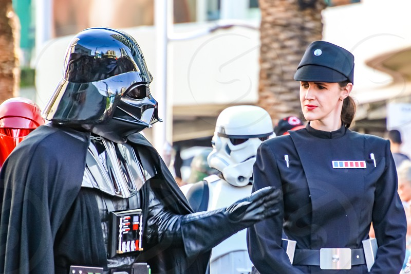 Darth Vader from Star Wars street parade popular film characters costumes  photo