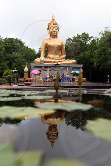 the bib buddha in the city of Amnat Charoen in the Region of Isan in Northeast Thailand in Thailand. photo